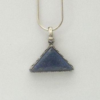Triangular Lapis Pendant with Decorated Bezel
